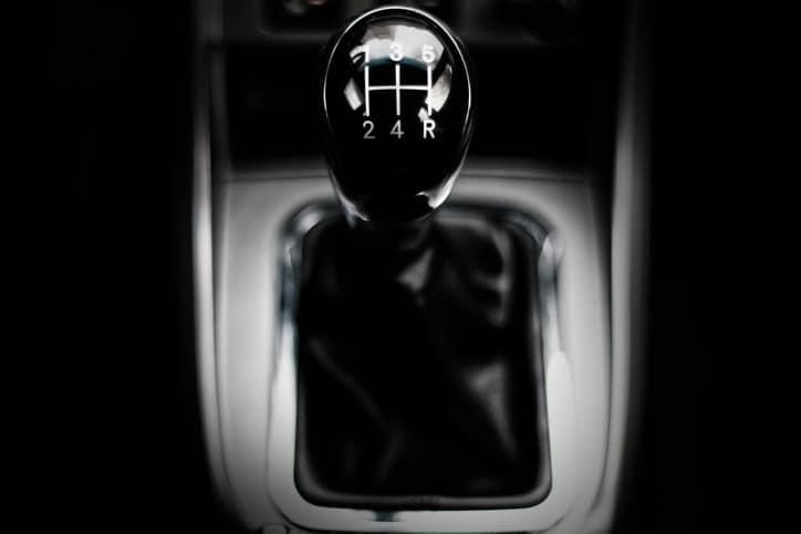 manual gearbox in the car macro black