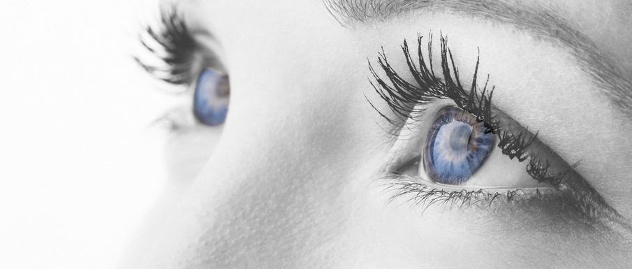 Monochrome edit macro shot of human blue eyes