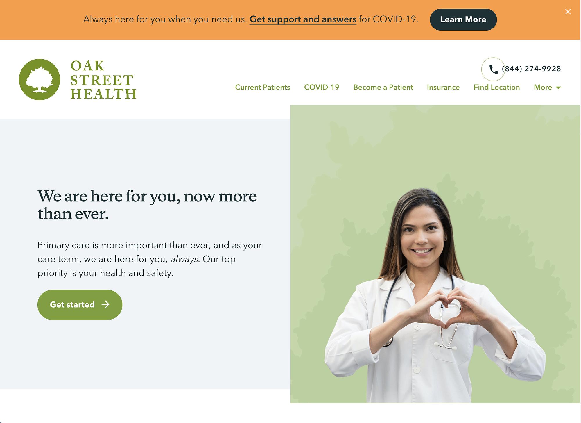Oak Street Health website